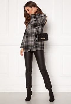 Noisy May Flanny L/S Long Shacket Black, Checks:BW/Gre Bubbleroom.eu