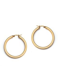 WOS Flat Gold Hoops Earrings Guld Bubbleroom.eu