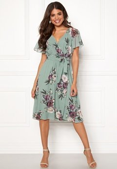 Goddiva Floral Flutter Midi Dress Duck Egg Bubbleroom.eu