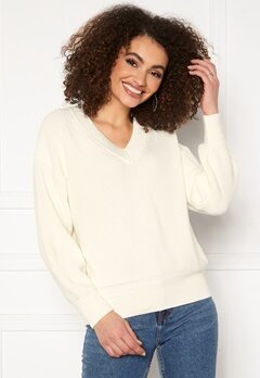 GANT Ribbed V-Neck 113 Eggshell Bubbleroom.eu