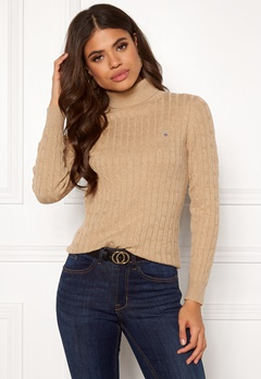 GANT Stretch Cotton Cable Turtle Neck 287 Sand Melange Bubbleroom.eu