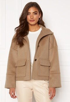 GANT Wool Blend Cropped Jacket 213 Warm Khaki Bubbleroom.eu