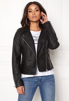 ONLY Gemma Faux Leather Biker Black Bubbleroom.eu