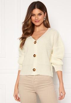 Girl In Mind Aria 3 Button Long Sleeve Knit Cardigan Creme Bubbleroom.eu