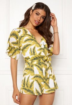 Girl In Mind Cecilla V Neck Playsuit Yellow Palm Bubbleroom.eu