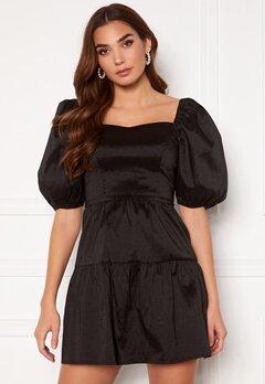 Girl In Mind Freya Puff Sleeves Square Neck Mini Dress Black Bubbleroom.eu