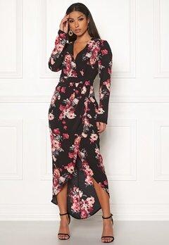 Girl In Mind Indie Wrap Floral Dress Black Bubbleroom.eu
