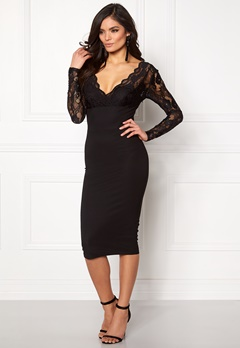 Girl In Mind Lace Bodycon Dress Black Bubbleroom.eu