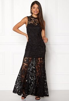 Girl In Mind Lace Maxi Dress Black Bubbleroom.eu