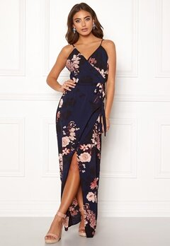 Girl In Mind Mia Wrap Maxi Dress Navy Bubbleroom.eu