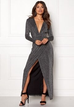 Girl In Mind Plunge V Neck Wrap Dress Black/silver Bubbleroom.eu