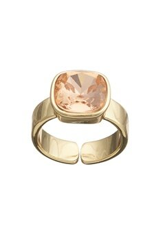 BY JOLIMA Glam Crystal Ring Crystal Gold Bubbleroom.eu