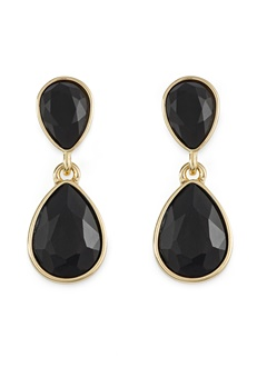 BY JOLIMA Glam Double Drop Earring Black/Gold Bubbleroom.eu