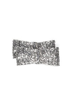 Heelow Glitter Bow Clips Silver Bubbleroom.eu