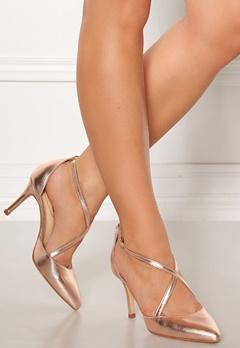 SARGOSSA Glitzy Leather Heels Rose Gold Bubbleroom.eu