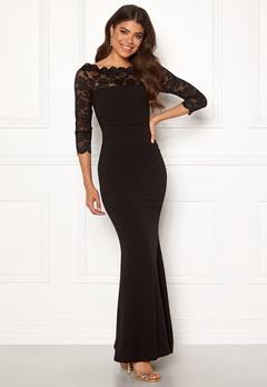 Goddiva 3/4 Lace Trim Maxi Dress Black Bubbleroom.eu