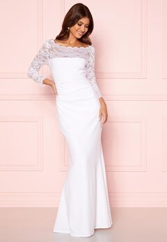 Goddiva 3/4 Lace Trim Maxi Dress White Bubbleroom.eu