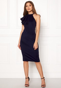 Goddiva Asymmetric Frill Dress Navy Bubbleroom.eu