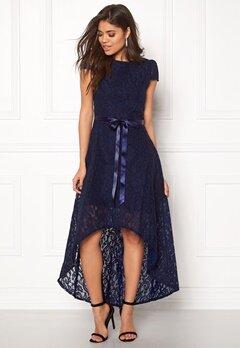 Goddiva Asymmetric Lace Dress Navy Bubbleroom.eu