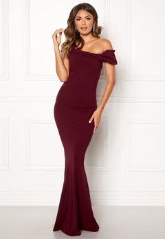 Goddiva Bardot Fishtail Maxi Dress Berry Bubbleroom.eu