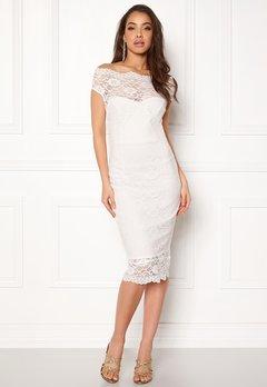 Goddiva Bardot Lace Midi Dress White Bubbleroom.eu
