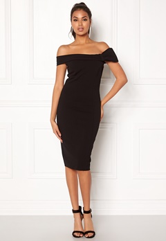 Goddiva Bardot Midi Dress Bow Black Bubbleroom.eu