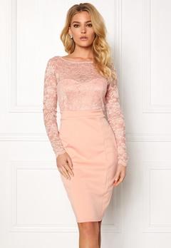 Goddiva Bardot Midi Dress Bow Nude Bubbleroom.eu