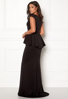Goddiva Bardot Peplum Maxi Dress Black Bubbleroom.eu