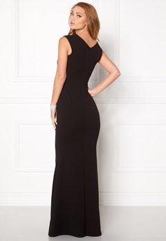 Goddiva Bardot Pleat Maxi Dres Black Bubbleroom.eu