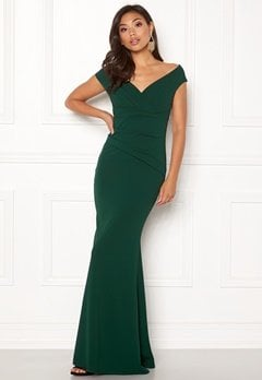 Goddiva Bardot Pleat Maxi Dress Emerald Bubbleroom.eu
