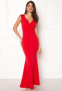 Goddiva Bardot Pleat Maxi Dress Red Bubbleroom.eu