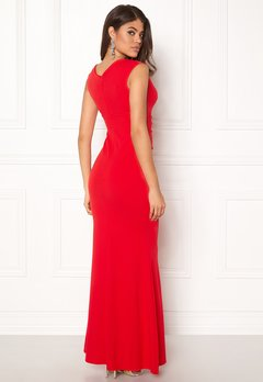 Goddiva Bardot Pleat Maxi Dress Red Bubbleroom.eu