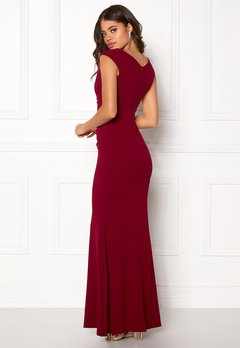 Goddiva Bardot Pleat Maxi Dress Wine Bubbleroom.eu
