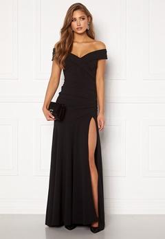 Goddiva Bardot Pleat Maxi Split Dress Black Bubbleroom.eu