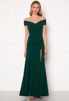 Goddiva Bardot Pleat Maxi Split Dress Emerald Bubbleroom.eu