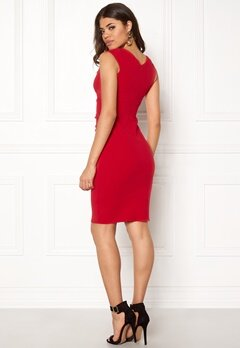 Goddiva Bardot Pleat Midi Dress Red Bubbleroom.eu