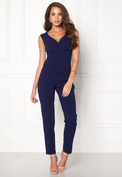 Goddiva Bardot Pleated Jumpsuit Navy Bubbleroom.eu