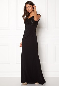 Goddiva Bardot Sequin Maxi Dress Black Bubbleroom.eu