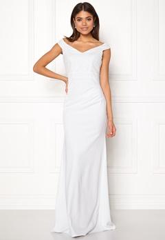 Goddiva Bardot Sequin Maxi Dress Cream Bubbleroom.eu