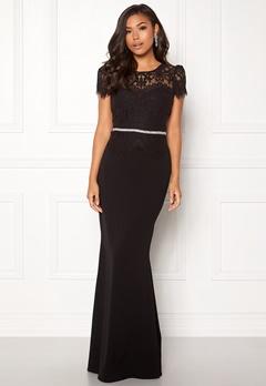 Goddiva Cap Sleeve Lace Dress Black Bubbleroom.eu