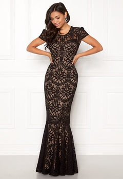 Goddiva Cap Sleeve Lace Dress Black/nude Bubbleroom.eu