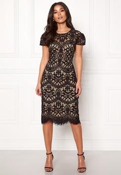 Goddiva Cap Sleeve Lace Dress Black/nude Bubbleroom.eu