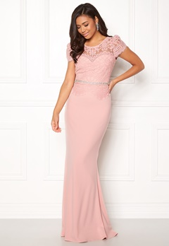 Goddiva Cap Sleeve Lace Dress Blush Bubbleroom.eu
