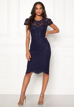 Goddiva Cap Sleeve Lace Dress Navy Bubbleroom.eu