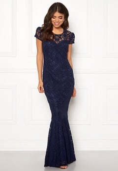 Goddiva Cap Sleeve Lace Dress Navy Bubbleroom.eu