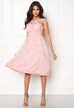 Goddiva Chiffon Midi Flower Dress Rose Bubbleroom.eu