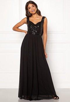 Goddiva Cowl Back Sequin Dress Black Bubbleroom.eu