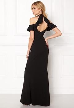 Goddiva Cut Out Maxi Dress Frill Black Bubbleroom.eu