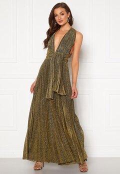 Goddiva Deep V Neck Glitter Dress Gold Bubbleroom.eu