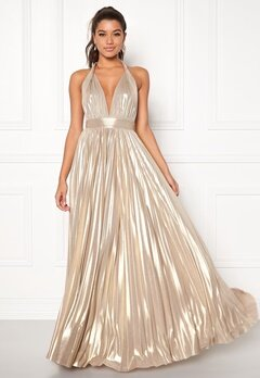 Goddiva Deep V Neck Metallic Gold Bubbleroom.eu